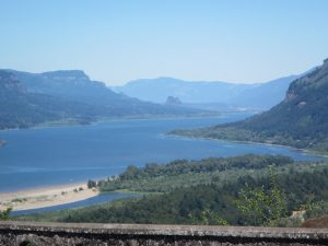 View east from a major overlook of the Columbia River in Oregon