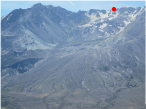 "A close-up of the volcano's crater.  The large magma-dome in the middle has grown since 1980, but currently has deflated somewhat since 2009.  The ""red dot"" is where we ascended from the other side up to the crater's edge."