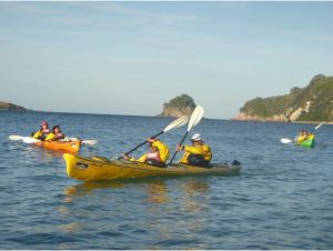 Sea-kayaking on Mercury Bay on our way to Cathedral Cove.