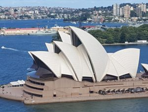 View of the Sydney Opera House from the top of Sydney Harbour