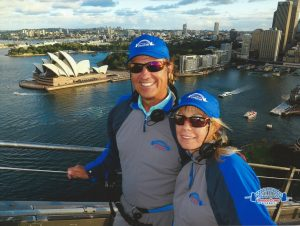 Rocky & Julie at the top of Sydney Harbour Bridge