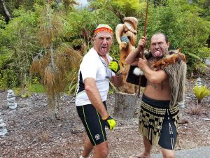 Rocky with Maori tribesman at Te Waonui Forest Retreat