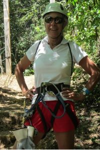 Julie outfitted for zip-lining at La Marquesa in Puerto Rico