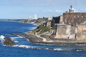 View of the Old Fort as we are leaving San Juan, Puerto Rico