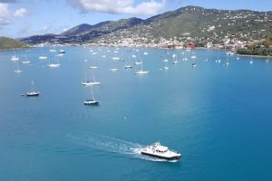 View from our balcony of the boats in the bay at St. Thomas