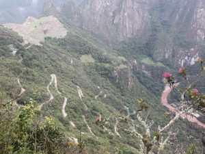 The switchback road leading from Aquas Calientes