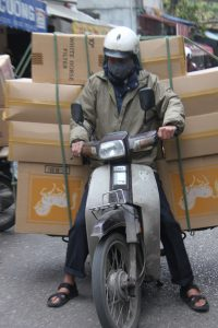 How many boxes can one motorcycle carry?