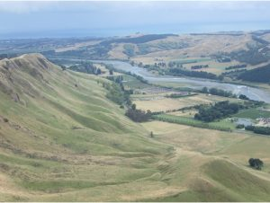 The view from the summit of Te Mata Peak with the Tukituki River in the background.