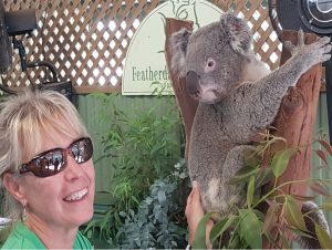 Julie petting a Koala Bear at Featherdale Wildlife Park