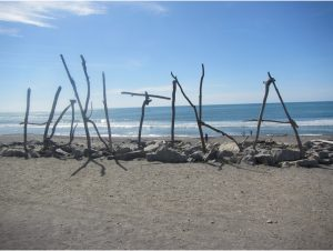 Driftwood Art at Hokitika Beach