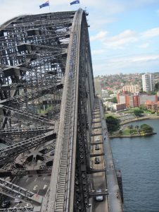 View of the Sydney Harbour Bridge from its pylon