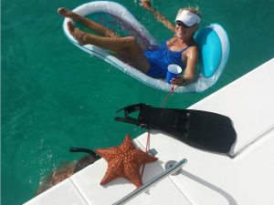 Relaxing at the Tobago Cays.