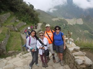 Yessica, Julie, Rocky and Nancy at the sun Gate with Machu Picchu below